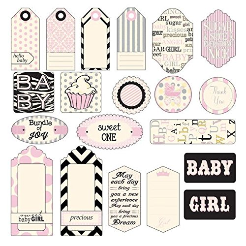 Canvas Tela Corp Stampato Tag, Assortiti, Baby Girl, 20-Pack
