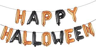 14pcs Halloween Balloon Letter Sets Happy Halloween Party Decoration Aluminum Foil Balloon Banner (Orange Black)