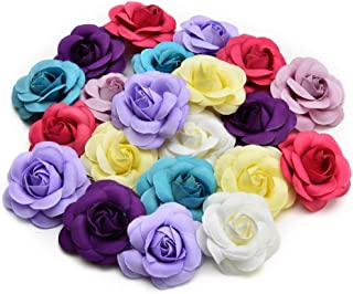 Artificial Flowers Fake Flower Heads in Bulk Wholesale for Crafts Rose Head Silk Rose Bud Wedding Decoration DIY Party Home Decor Wreath Headdress Accessories 20pcs 5cm (Colorful)