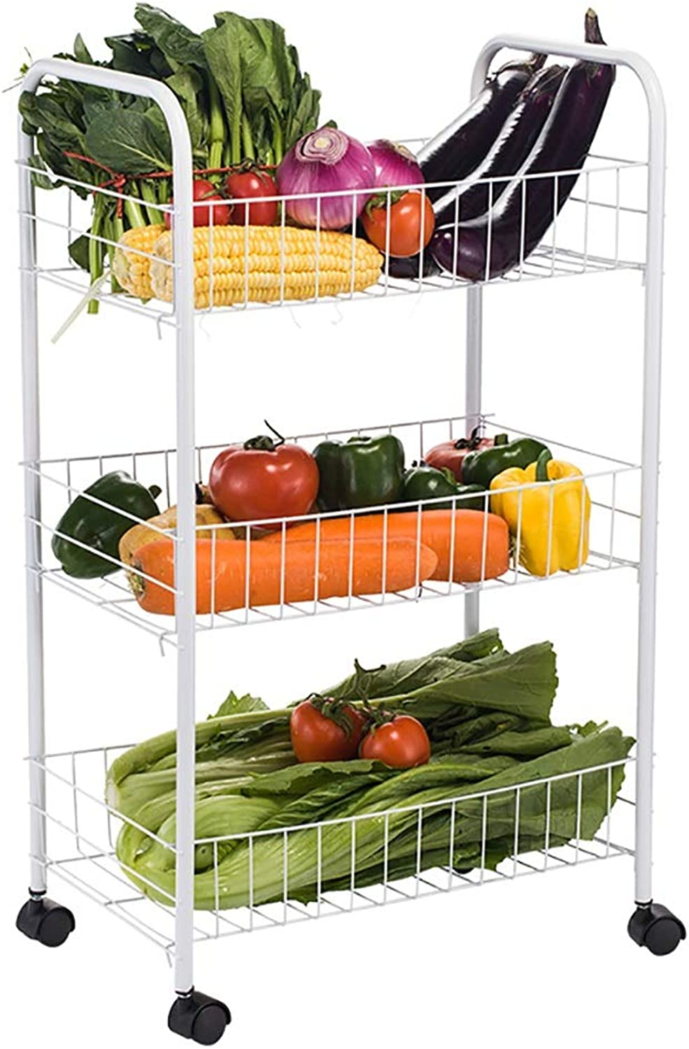 3 Tier Kitchen Storage Trolley with Wheels Carbon Steel Fruit Vegetable Rack for Bathroom Multifunction Organizing White