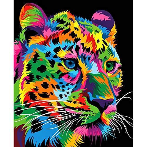 Arfbear DIY Ölgemälde, Malen nach Zahlen Kits für Erwachsene Anfänger, Studenten, Wand Leinwand Kunst Dekoration Ohne Rahmen (Leopard)