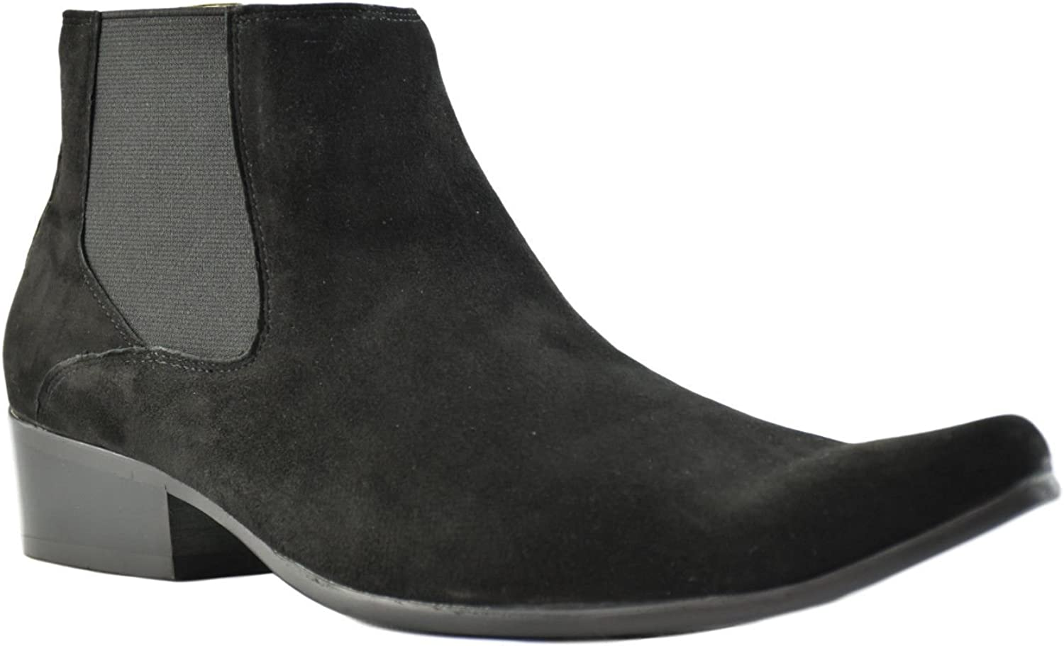 Paolo Vandini Black Suede Men's Winklepicker Chelsea Boots Pointed Ankle Boot