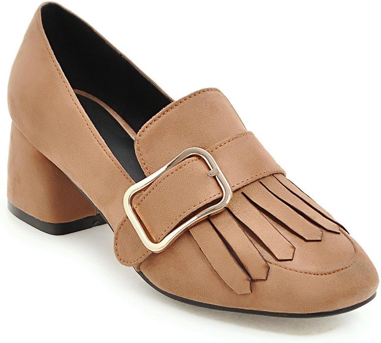 AIWEIYi Women Round Toe Pumps Tassel Square Mid Heel Platform Dress shoes Black