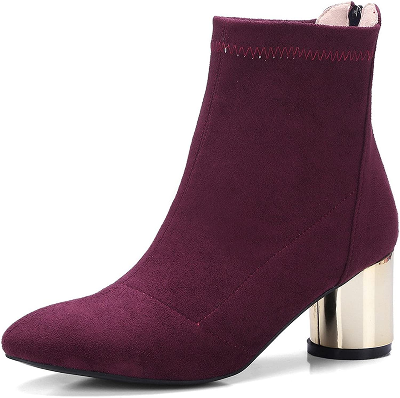 Nine Seven Suede Leather Women's Round Toe Chunky Heel Elegant Handmade Cute Ankle Booties
