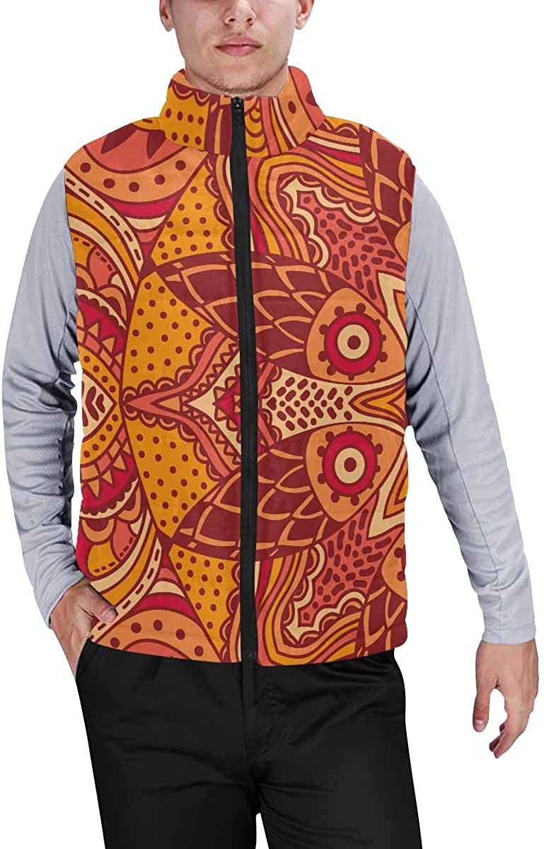 InterestPrint Casual Classic Quilted Sleeveless Vest for Men Mandala and Gold Rays