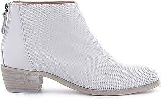 Pierfrancesco Vincenti Tronchetti in Pelle Traforata con Cerniera Posteriore - Scarpe Donna Made in Italy Colore Bianco