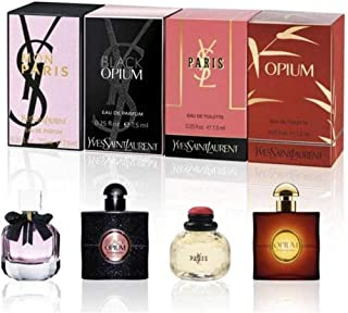 YVES SAINT LAURENT YSL Perfume Miniatures Travel Set for Women, Eau de Toilette & Eau de Perfume, Opium, Paris, Black Opium, Mon Paris, 7.5ml .25 oz.