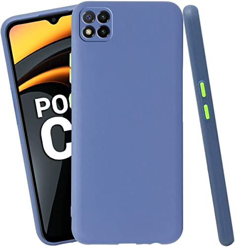 Jkobi Soft Silicon Camera Protection Back Cover Case For Poco C3 With Color Highligted Smoke Buttons Blue