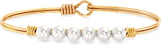 Luca + Danni   Crystal Pearl Bangle Bracelet In Classic White For Women Made in USA