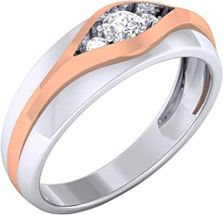 a0fab9536 JewelTale 14k (585) Two Colour Gold and Diamond Ring for Men
