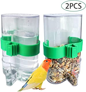 BLSMU Parakeet Water Dispenser,No-Mess Parrot Feeder,Parakeet Waterer,Cockatiel Cage Accessories,Automatic Feeding for Budgies,Finch and Other Bird 2Pcs
