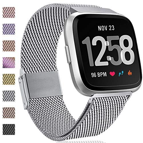 Hamile Kompatibel für Fitbit Versa Armband/Fitbit Versa Lite Edition, Metall Ersatzarmbänder mit Starkem Magnetverschluss für Fitbit Versa Smartwatch, Klein Silber