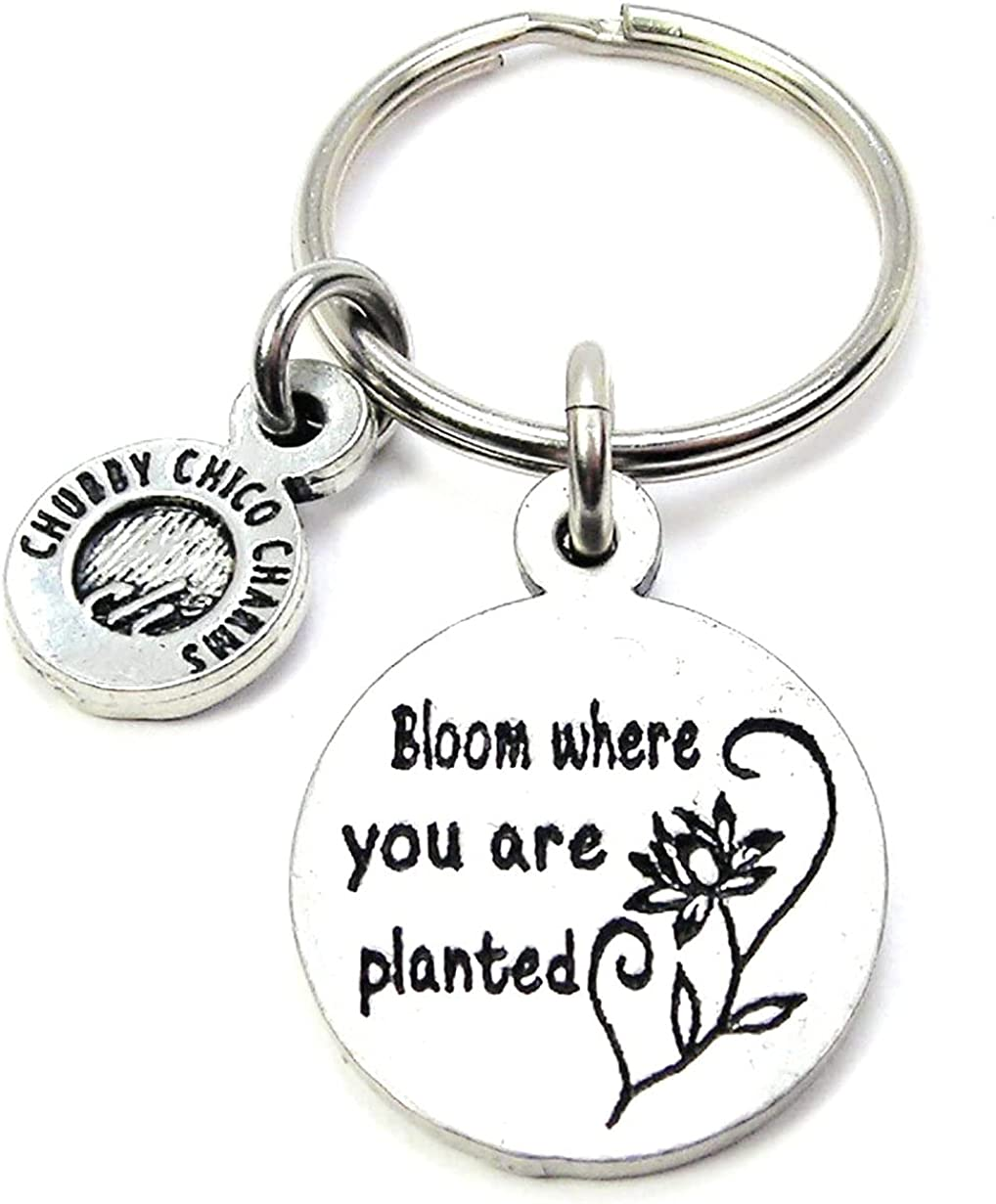 ChubbyChicoCharms Bloom Where You are Planted Pewter Charm On Stainless Steel Keyring Key Ring Key Chain Keychain for Women, Men, Teens, Positivity Gift Present Inspire