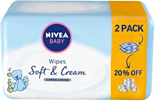 NIVEA, Baby, Wipes, Soft & Cream, 2 x 63 Wipes