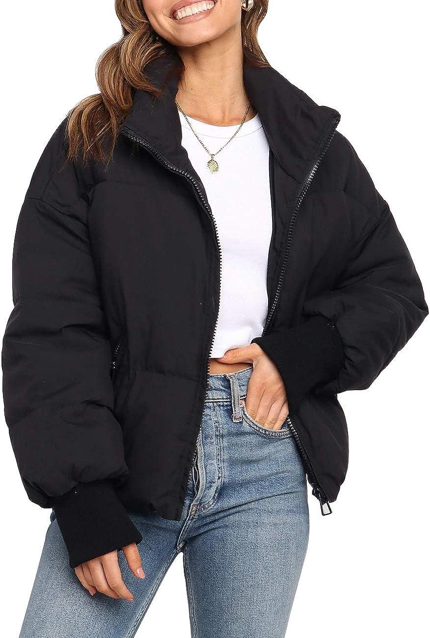MEROKEETY Women's Winter Long Sleeve Zip Puffer Jacket Baggy Short Down Coats