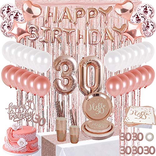 JSN PARTY 30th Birthday Decorations for her, Dirty 30 Rose Gold Birthday Party Supplies for Women with Birthday Banner, Table Runner, Curtains, Cake Topper, Plates, Cups and More for 24 Guest