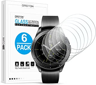 [6 Pack] OMOTON Screen Protector for Samsung Galaxy Watch (42mm) / Gear Sport/Gear S2 - Tempered Glass Screen Protector [Full Coverage] [Bubble Free] [Scratch Resistant]