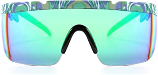 FEISEDY Classic Flat Top Shield ZigZag Sunglasses Siamese Goggles Rainbow Mirrored Lenses B2602
