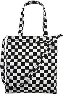Editha Women Retro Checkerboard Handbag Canvas Crossbody Bag Shoulder Bag Tote