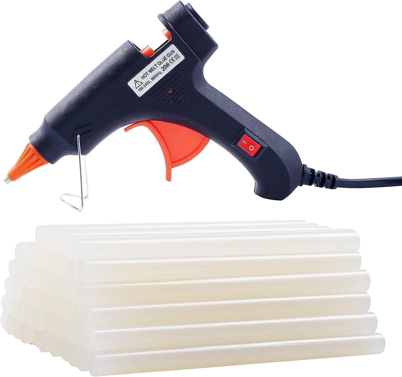 Hot Glue Gun with 50 Glue Sticks, Craft Glue Gun, Removable Glue Gun,Glue Gun Mini, Hot Glue Gun with Glue Sticks for DIY Small Craft Projects and Home Quick Repairs (20 Watts, Black) : Arts, Crafts & Sewing