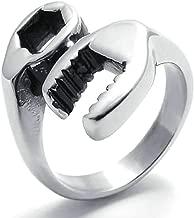 Daesar Stainless Steel Rings Mens Open Rings Wrench Mechanic Tool Silver Rings for Men Rings 24MM