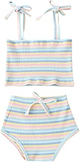 Newborn Toddler Baby Girls Summer Clothes Set Rainbow Outfits Sleeveless Halter Tank Top Striped Shorts Pants
