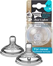 Tommee Tippee Closer to Nature Added Cereal Baby Bottle Feeding Nipple Replacement, Y-Cut Nipple, Breast-Like Nipple, 6+ M...