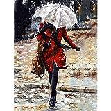 Peintes À La Main Peinture,Girl In Red Trench Coat Résumé De L'Oeuvre De Personnes Peintures À L'Huile Sur Toile De L'Art Prêt À Accrocher Au Mur Pour Le Séjour La Chambre D'Objets De Décorat