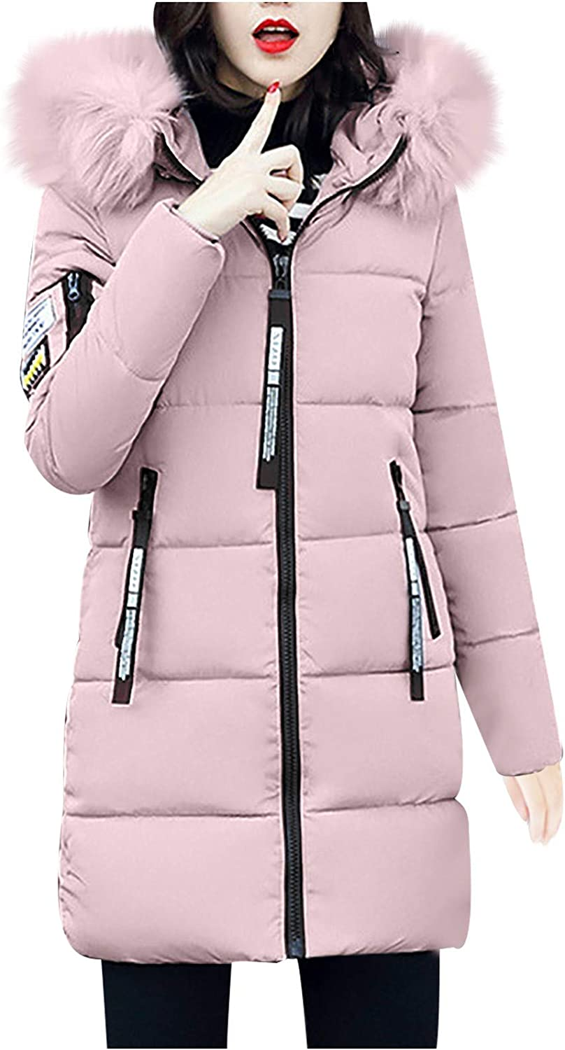 HGWXX7 Womens Overcoat Plus Size Faux Fur Hood Down Jacket Zip Up Long Sleeve Thickening Winter Coats with Pocket Pink