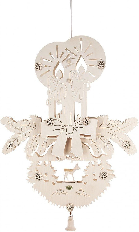 Fensterbild mit Kerzen und Reh elektrisch beleuchtet - 50cm - Dregeno Erzgebirgische Holzkunst - Artikel 197 068