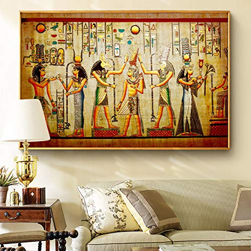 N / A Abstract Native Indian Woman And Animal Art Oil Painting on Canvas Posters And Prints Wall Art Picture Living Room 40x60cm
