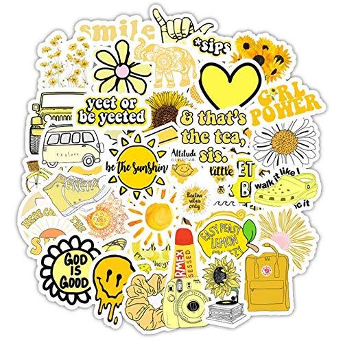 ZZHH 50 Uds Flor Amarilla de Dibujos Animados pequeña Taza de Agua Fresca para teléfono móvil Pegatinas de Graffiti Impermeables decoración al por Mayor