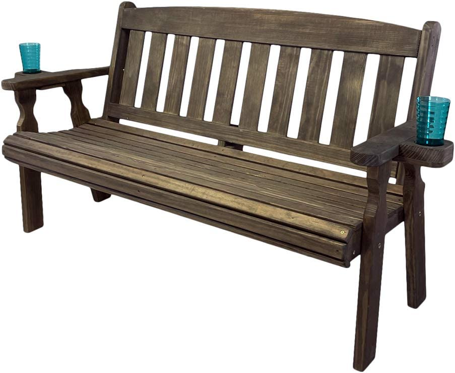 CAF Amish Heavy Duty 800 Lb Mission Pressure Treated Garden Bench with Cupholders (5 Foot, Dark Walnut Stain)