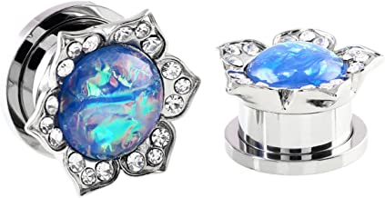 IPINK-2Pcs Stainless Steel Lotus Edge Synthetic Blue/White Opal Screw Back Ear Gauges Piercing