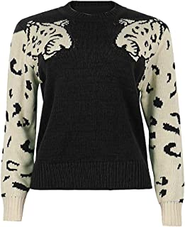 Fashion Women Animal Print Patchwork O-Neck Long Sleeve Pullover Loose Sweater