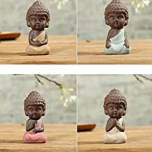 Flameer 4Pcs Chinese Tea Pet, Little Buddha Statue Monk, for Kung Fu Tea Tray Decor
