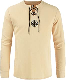neveraway Mens Linen Casual Embroidered Solid-Colored Long-Sleeve Tee Shirt