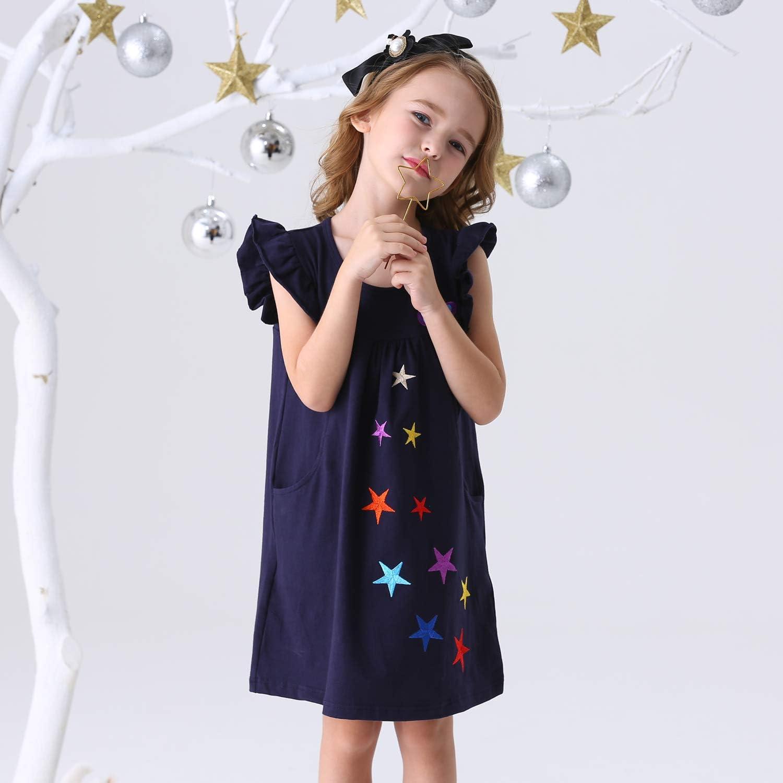 VIKITA Little Girls Cotton Cartoon Stripe Long Sleeve T-Shirt Dresses 1-8 Years