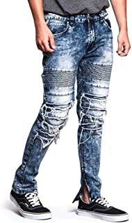 Ribbed Thigh Layered Knee Slim Fit Moto Style Jeans