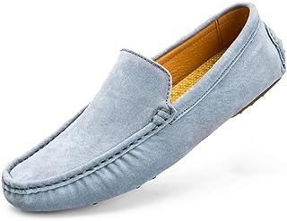 [QIFENGDIANZI] スリッポン メンズ ドライビングシューズ デッキシューズ 紳士靴 ウォーキングシューズ カジュアルシューズ スニーカー モカシン ローファー フラットシューズ かかとが踏める 快適 コンフォート ブルー カーキ グレー