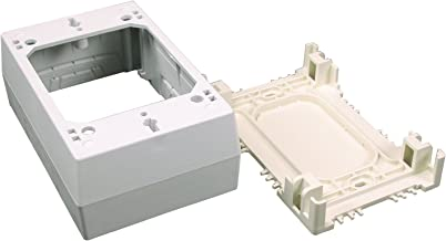 Wiremold Plastic Nonmetallic Raceway, Extending Power, On-Wall Single-Gang Outlet, Ivory, NM2