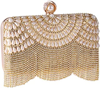 New Fashion Tassel Diamond Banquet Clutch Bag Ladies Pearl Beaded Crystal Handbag Evening Bag Chain Shoulder Messenger Bag Size: 20.5 * 4.5 * 11CM Fashion (Color : Gold)