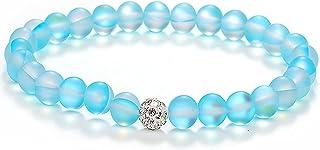 Caiyao Round Mystic Mermaid Colorful Glass Beaded Stretch Bracelet Handmade 8mm Matte Beads Glowing Moonstone Elastic Brac...
