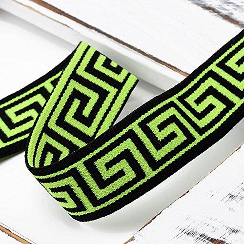 4-Yards 25mm (1') Greek Key Elastic Stretch Band Trim for Headband, Hand Band and Waist Belt, TR-11816 (Neon Green)
