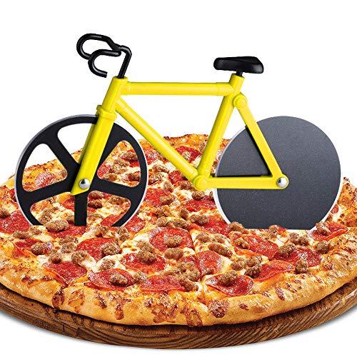 ZAWTR Fahrrad Pizzaschneider, Edelstahl Pizza Schneider Lustige Pizzaroller aus Antihaftbeschichtetem, Doppel Pizza Cutter mit Scharfem Schneiderad & Ständer für Weihnachten Party Geschenke (Gelb)