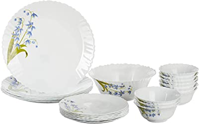 Woriwo beauty® Fluted Lavender Dinner Set, 25-Pieces, White
