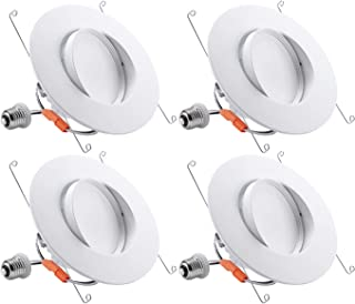 TORCHSTAR 13W 5/6 Inch Retrofit LED Gimbal Downlight, 900lm, 100W Eqv, UL & Energy Star, Dimmable, Adjustable CRI90 Offwhite Recessed Ceiling Light, 2700K Warm White, 5-Year Warranty, Pack of 4