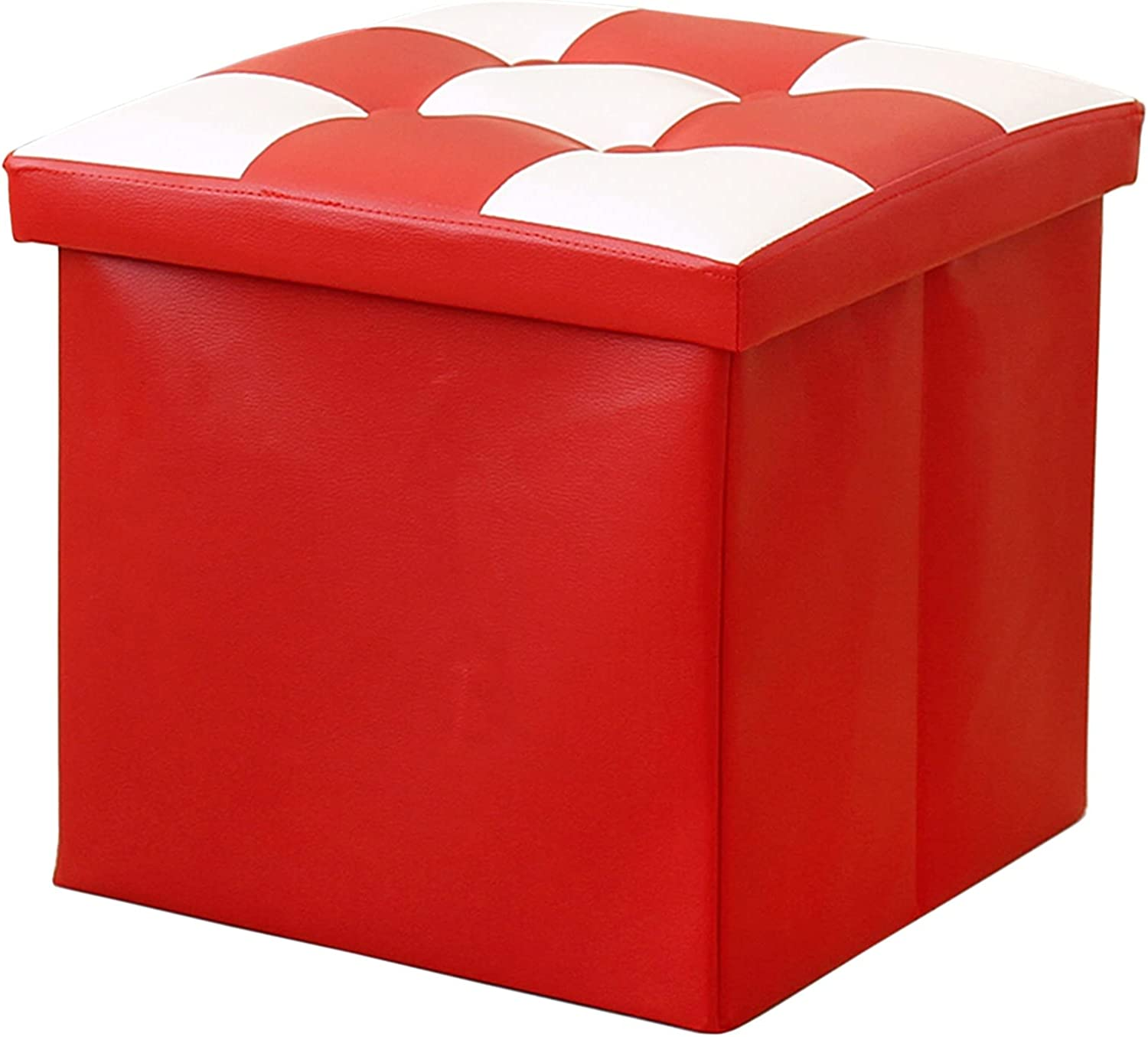 New life 38cm Cube Storage Ottoman Bench Padded 54L Small with Trust Footrest