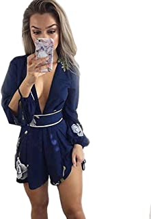 xiaohuoban Women Playsuit 3//4 Sleeve Tassel V-Neck Short Jumpsuits Rompers