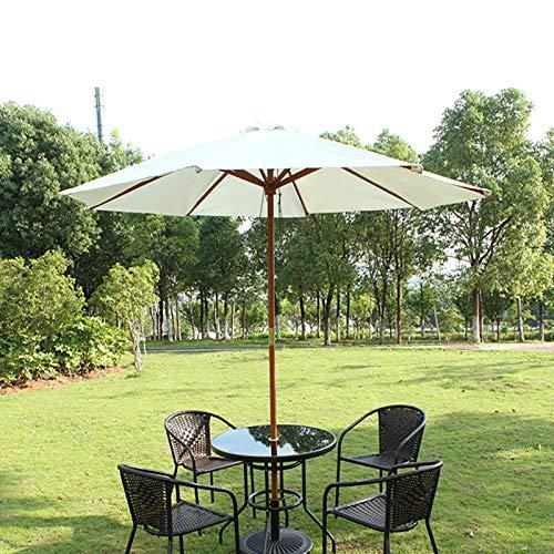 ERLAN Parasol Jardin Madera Sombrillas de Patio Al Aire Libre para Piscina Jardín Playa, 2,7m Sombrilla Market Table Sombrilla con Manivela y Ventilación, Beige